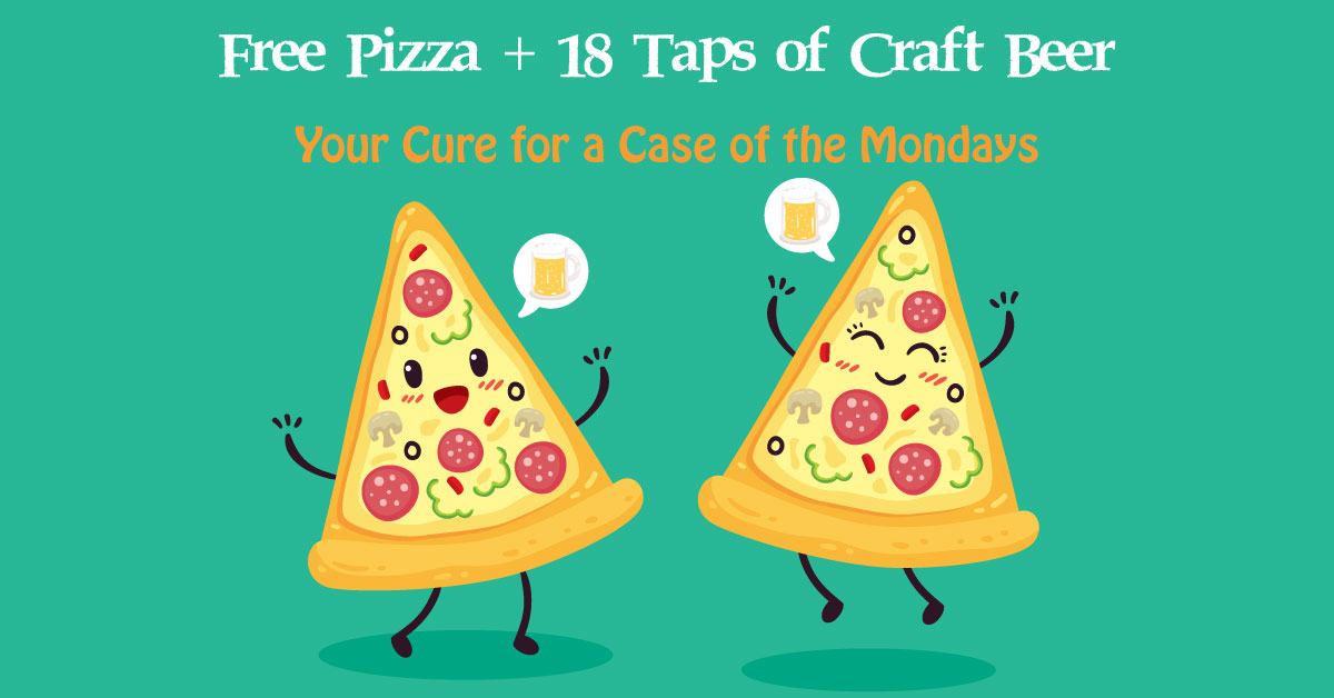 Happy Pizza Slices Saying Cheers to The Hop Yard's Pizza Monday
