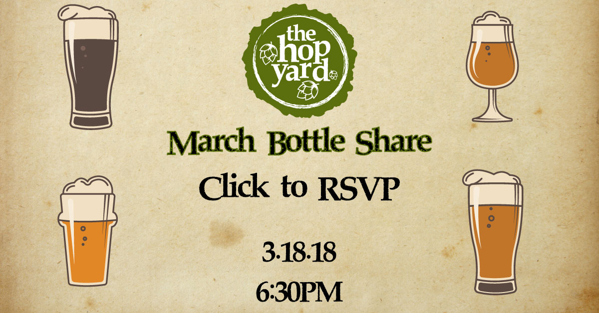 Vintage paper background with various beer glasses promoting The Hop Yard March 18, 2018 Bottle Share