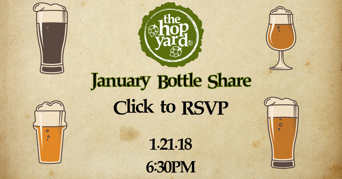 Illustrations of different beer glasses to promote The Hop Yard January Bottle Share