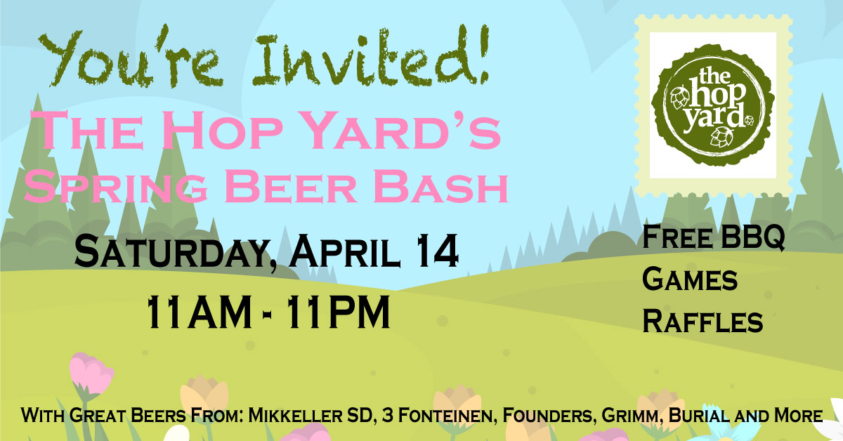 Spring themed background with blue skies, trees, and tulips promoting The Hop Yard's Spring Beer Bash on April 14th from 11AM to 11PM